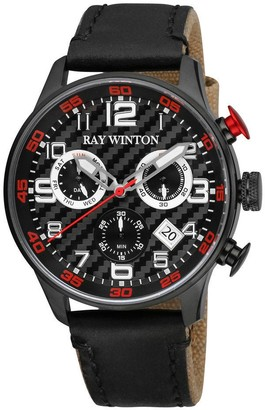 Ray Winton Men's Sport Chronograph Textured Black Dial Black Leather / Fabric Watch