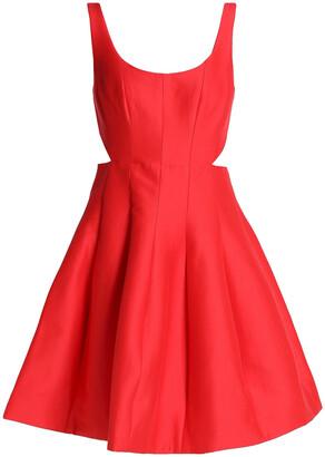 Halston Flared Cutout Cotton And Silk-blend Dress