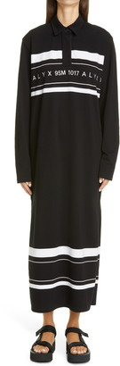 Alyx Logo Embroidered Long Sleeve Maxi Polo Dress