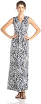 Tiana B Women's Sleeveless Leopard Printed Printed Wrap Maxi Dress, Black/White