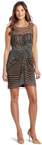 Nine West Dresses Women's Tribal Patches Sleeveless Ruffle Top Mesh Dress