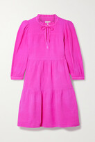 Thumbnail for your product : HONORINE Giselle Ruffled Tiered Cotton-seersucker Mini Dress - Fuchsia