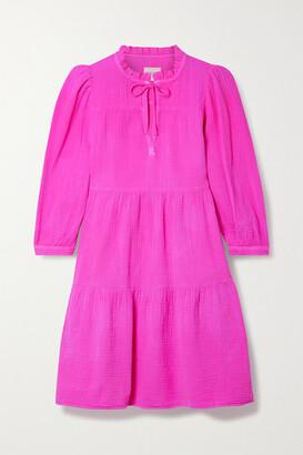 HONORINE Giselle Ruffled Tiered Cotton-seersucker Mini Dress - Fuchsia