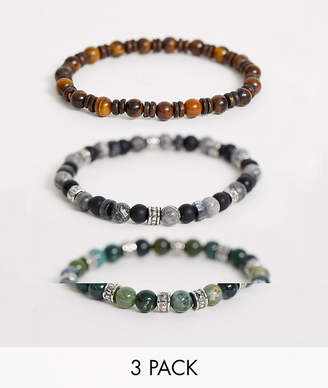 Reclaimed Vintage inspired semi precious beaded bracelet pack exclusive to ASOS-Multi