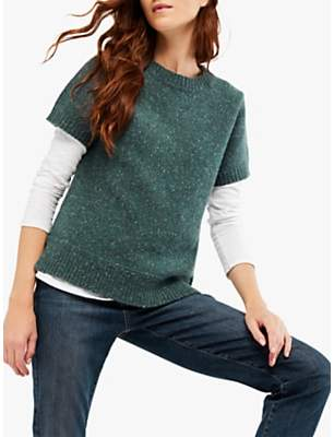 White Stuff Autumn Leaves Knitted Top, Teal