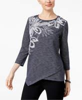 Alfred Dunner Montego Bay Embroidered Asymmetrical-Hem Top
