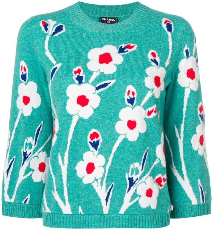 Chanel Pre-Owned floral jacquard sweater