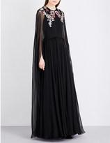 Alexander McQueen Floral-embroidered silk gown
