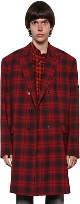 Balenciaga Double Breasted Wool Plaid Coat