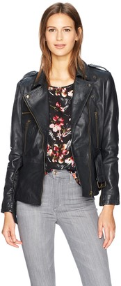 Nicole Miller Women's Sammi Lamb Leather Moto Jacket Black Petite