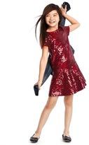 Gap Cranberry sequin drop waist dress