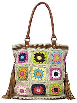Patricia Nash Knit Squares Collection Bevera Tasseled Tote