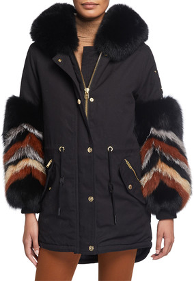Moose Knuckles Coderre Zigzag Fox Fur-Cuff Coat w/ Rabbit Fur Lining