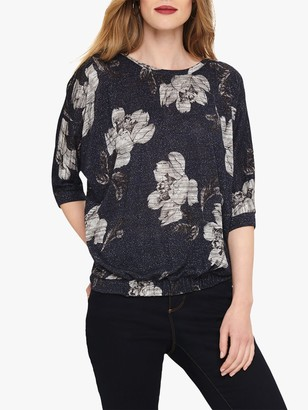 Phase Eight Farryn Floral Jacquard Shimmer Top, Navy