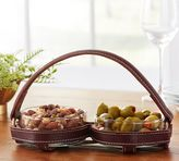 Pottery Barn Saddle Leather Double Snack Bowl