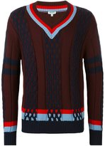 Kenzo striped trim v-neck jumper - men - Wool - S