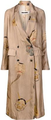 UMA WANG Graphic-Print Double-Breasted Coat