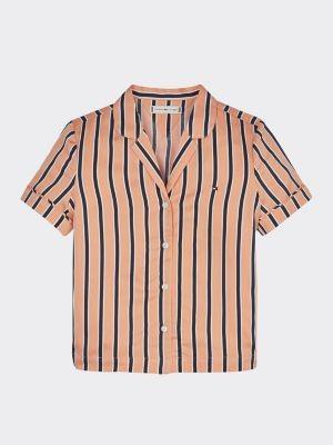Tommy Hilfiger Viscose Stripe Short Sleeve Shirt