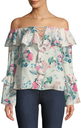 Parker Erin Off-the-Shoulder Floral-Print Silk Blouse