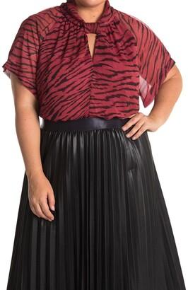 Rachel Roy Chiffon Zebra Kimono Sleeve Top