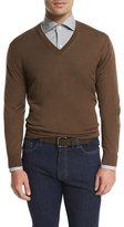 Ermenegildo Zegna High-Performance V-Neck Sweater, Brown