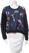 Mary Katrantzou Wool-Blend Satin-Accented Sweater