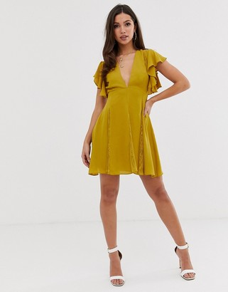 ASOS DESIGN mini dress with lace godet panels