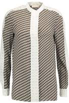 Tory Burch Jeane Crochet-Knit Trimmed Printed Silk Shirt