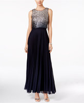 Betsy & Adam Ombré Sequined Popover Gown