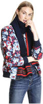 Joe Fresh Women's Print Quilted Bomber Jacket, Mid Blue (Size XL)