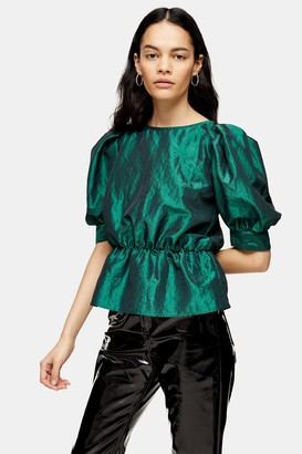 Topshop Emerald Green Short Sleeve Puff Taffeta Blouse