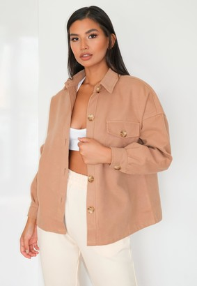 Missguided Petite Camel Brushed Button Down Shacket