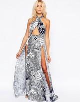 Asos Navy Tile Print Cross Neck Split Maxi Beach Dress