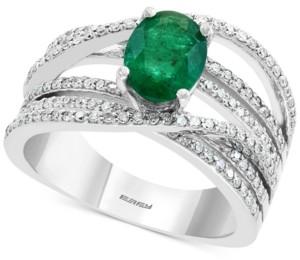 Effy Diamond (1/2 ct. t.w.) & Emerald (1-1/8 ct. t.w.) Ring in 14k White Gold