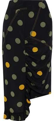 Marni Asymmetric Ruffle-trimmed Polka-dot Silk Crepe De Chine Skirt