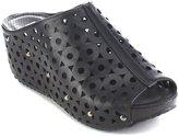 Refresh ELVA-07 Women's Slip On Stud Platform Cut Out Wedge Mule Sandals, Color:, Size:8.5
