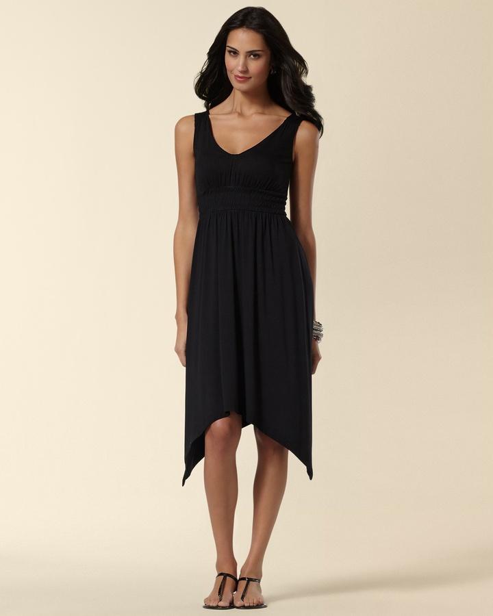 Soma Intimates Smocked Black Empire Dress