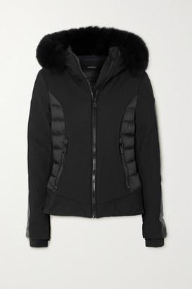 Goldbergh Kaja Hooded Faux Fur-trimmed Paneled Down Ski Jacket - Black