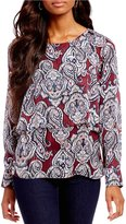 I.N. Studio Long Sleeve Paisley Print Keyhole-Back Layered Top