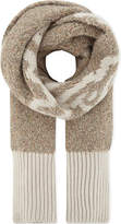 See by Chloe Ladies Light Brown Contrast Bohemian Chunky Knitted Logo Scarf