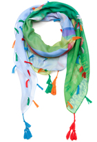 Blue & Green Floral Tassel-Accent Scarf