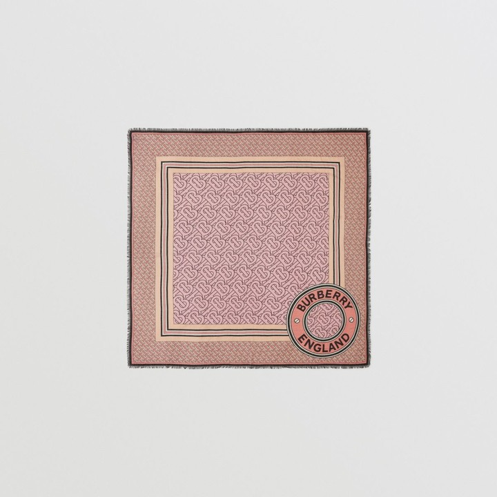 Burberry Monogram Print Wool Silk Large Square Scarf