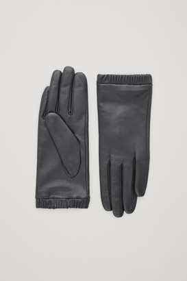 Cos Gathered Cashmere-Leather Gloves