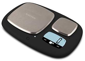 Salter Ultimate Accuracy Dual Platform Kitchen Scales, High Capacity 10kg and Ultimate Accuracy 200g Platforms, Stylish Kitchen Accessory with Digital LED Display, Measure in Metric and Imperial Weight and Volume for Liquids with Aquatronic Feature - Black
