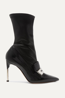 Alexander McQueen Embellished Patent And Textured-leather Ankle Boots - Black