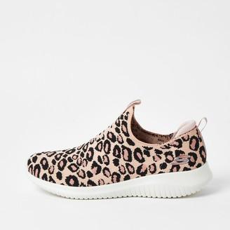 Skechers River Island Womens Pink ultra flex leopard trainer