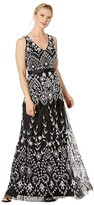 Adrianna Papell Beaded Mesh V-Neck Gown with Tiered Skirt (Black/Ivory) Women's Dress