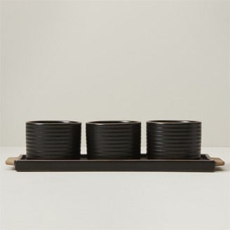 Oui Ridged Ceramic Serving Bowls With Tray Olive Set Of 3