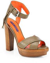 Ralph Lauren Gerine Leather Wooden-Heel Sandals