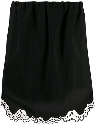 No.21 Embroidered Tulle Trim Skirt